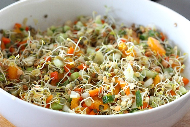 ... refreshing lentil sprout salad, with just a little kick of heat