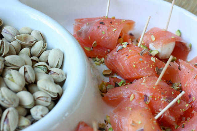 smoke salmon and pistachios