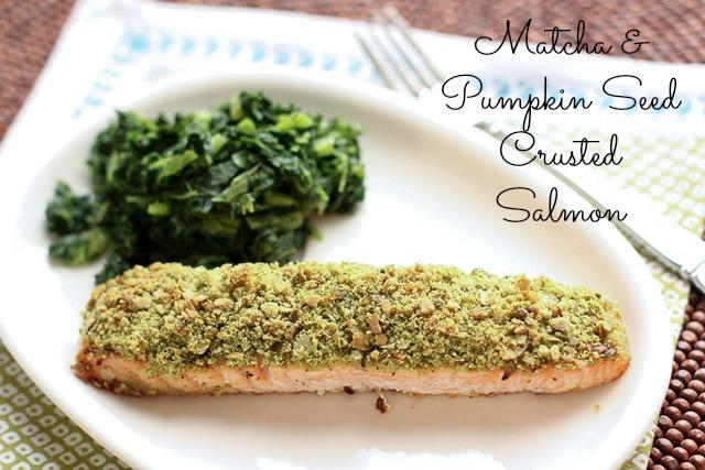 matcha tea and pumpkin seed crusted salmon
