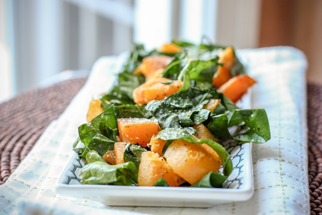 broccoleaf greens with butternut squash