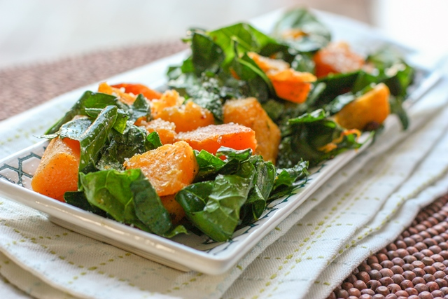 butternut squash with greens