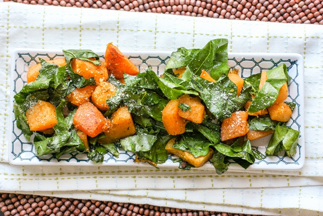 roasted butternut squash with broccoli greens