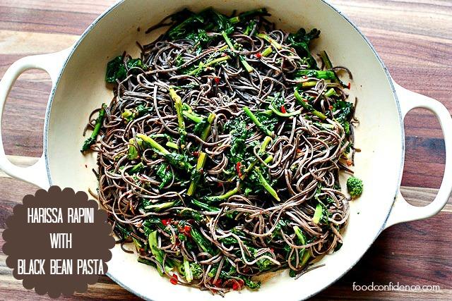 Black Bean Pasta Rapini with Harissa