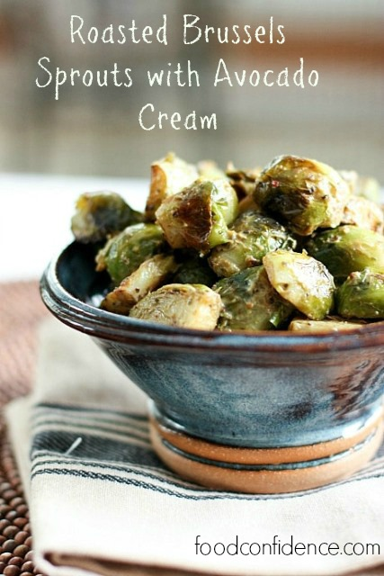 Roasted Brussels Sprouts with Avocado Cream