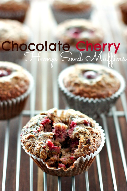 Chocolate Cherry Hemp Seed Muffins -- high protein, gluten free and delicious!