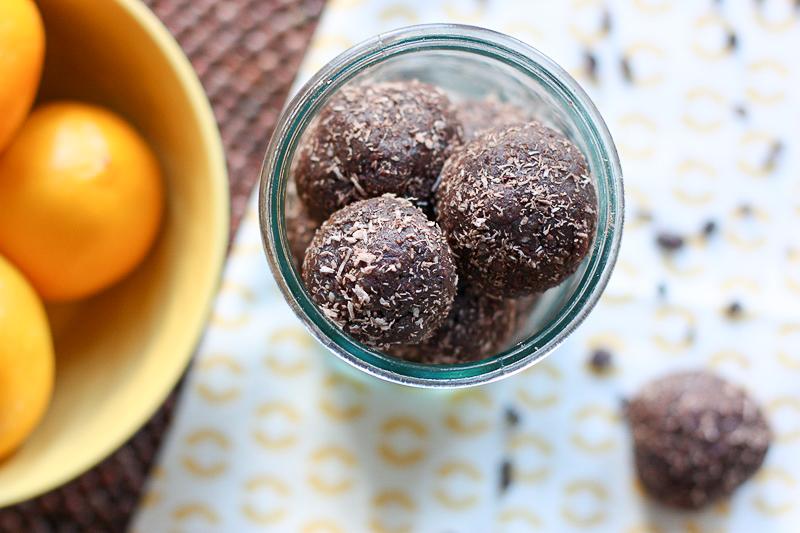 dark chocolate and lemon energy balls