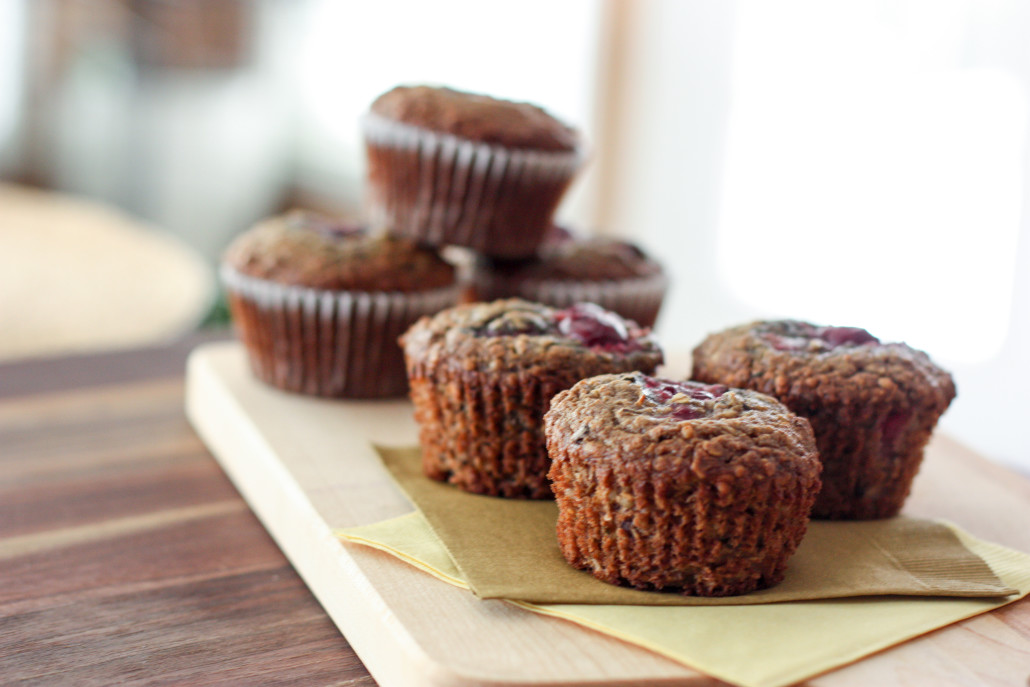 chocolate cherry and hemp seed muffins