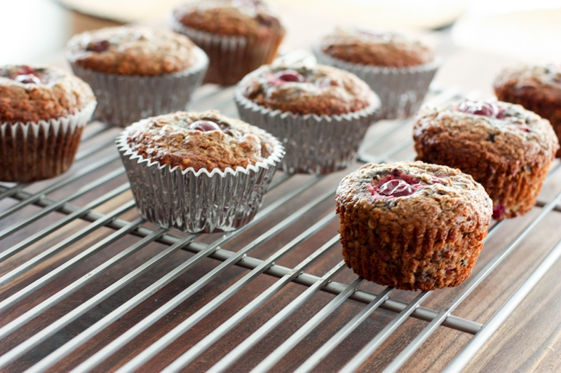chocolate cherry breakfast muffins