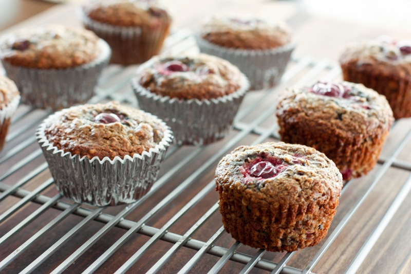 chocolate cherry hemp seed muffins