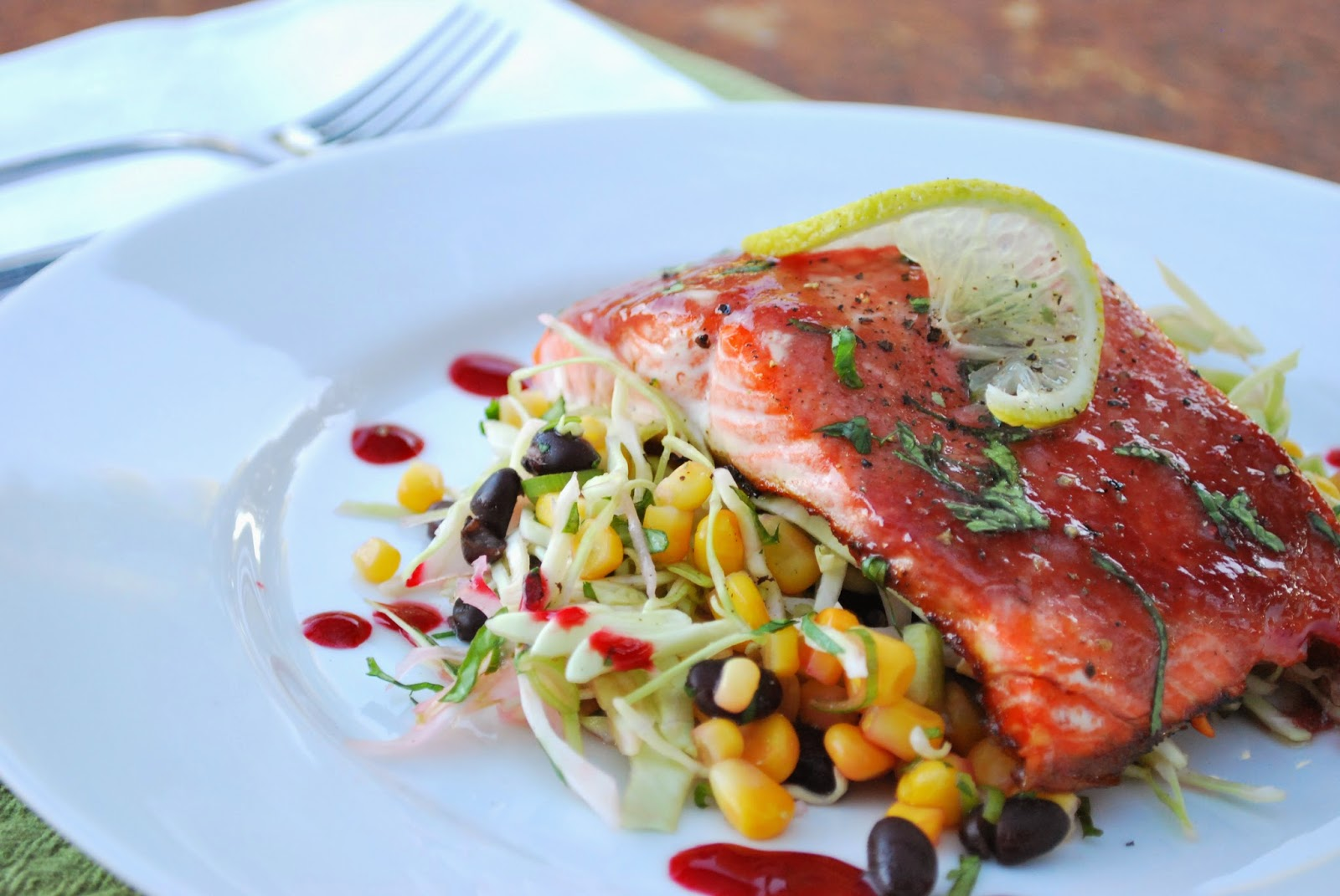Raspberry Miso Glazed Salmon with Cabbage Slaw from McKenzie: