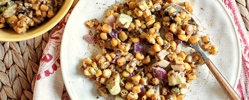 roasted corn salad with avocado and Yogurt lime dressing and grilled corn roundup from @danielleomar