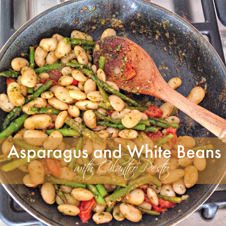 Asparagus and White Beans with Cilantro Pesto