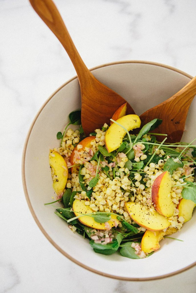 grilled corn and peaches salad