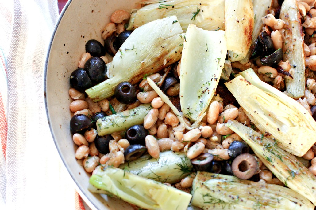 Fennel and black olives with white beans via @danielleomar