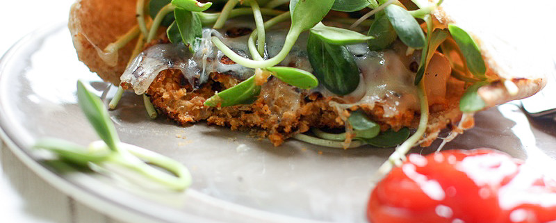 Freezer Friendly bean burgers on whole wheat pita! Perfect for a quick, healthy vegetarian dinner!