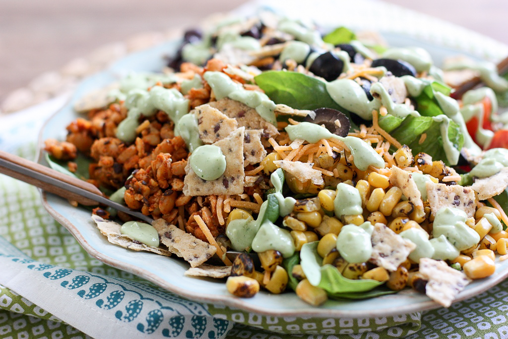 Tempeh Taco Salad with Avocado Cream