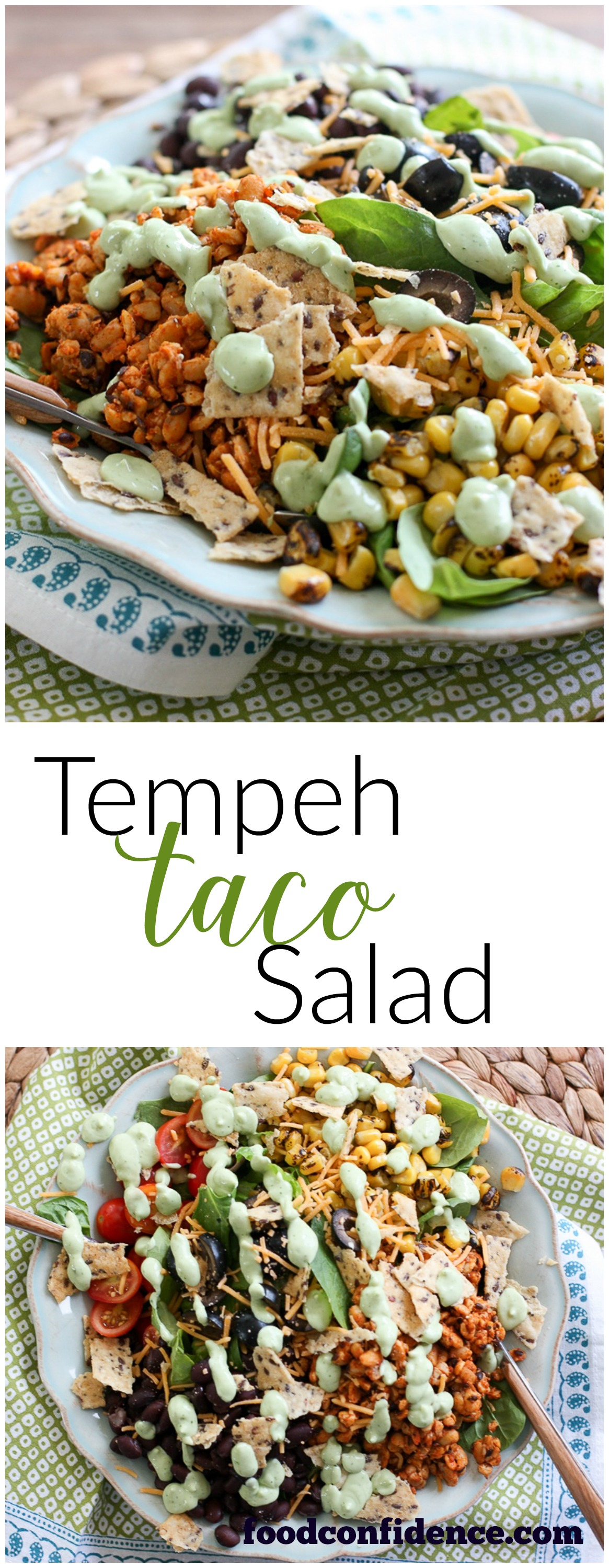 Healthy Tempeh Taco Recipe with Creamy Avocado Cilantro Dressing. Made with Greek yogurt. Super delicious, healthy and easy to make recipe for quick weeknight meal!