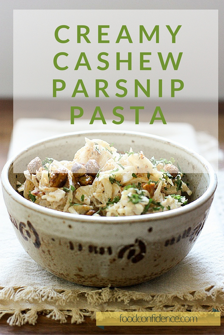 Make this creamy parsnip pasta with seasoned pistachios for a delicious gluten and dairy free comfort food fix!