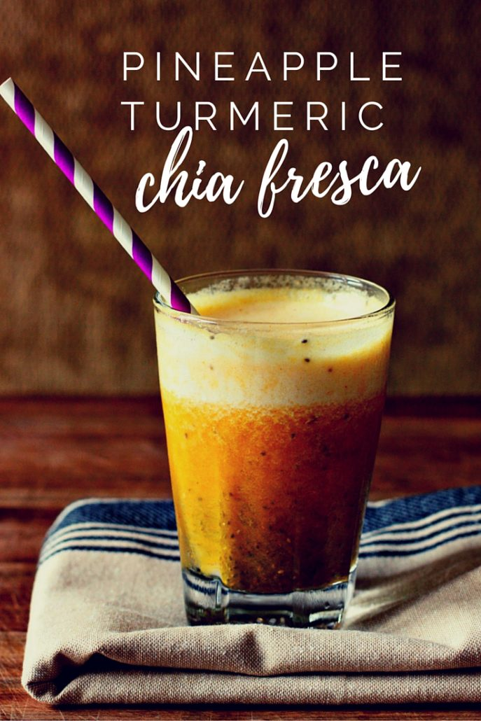 Healthy, antioxidant rich pineapple chia fresca with turmeric