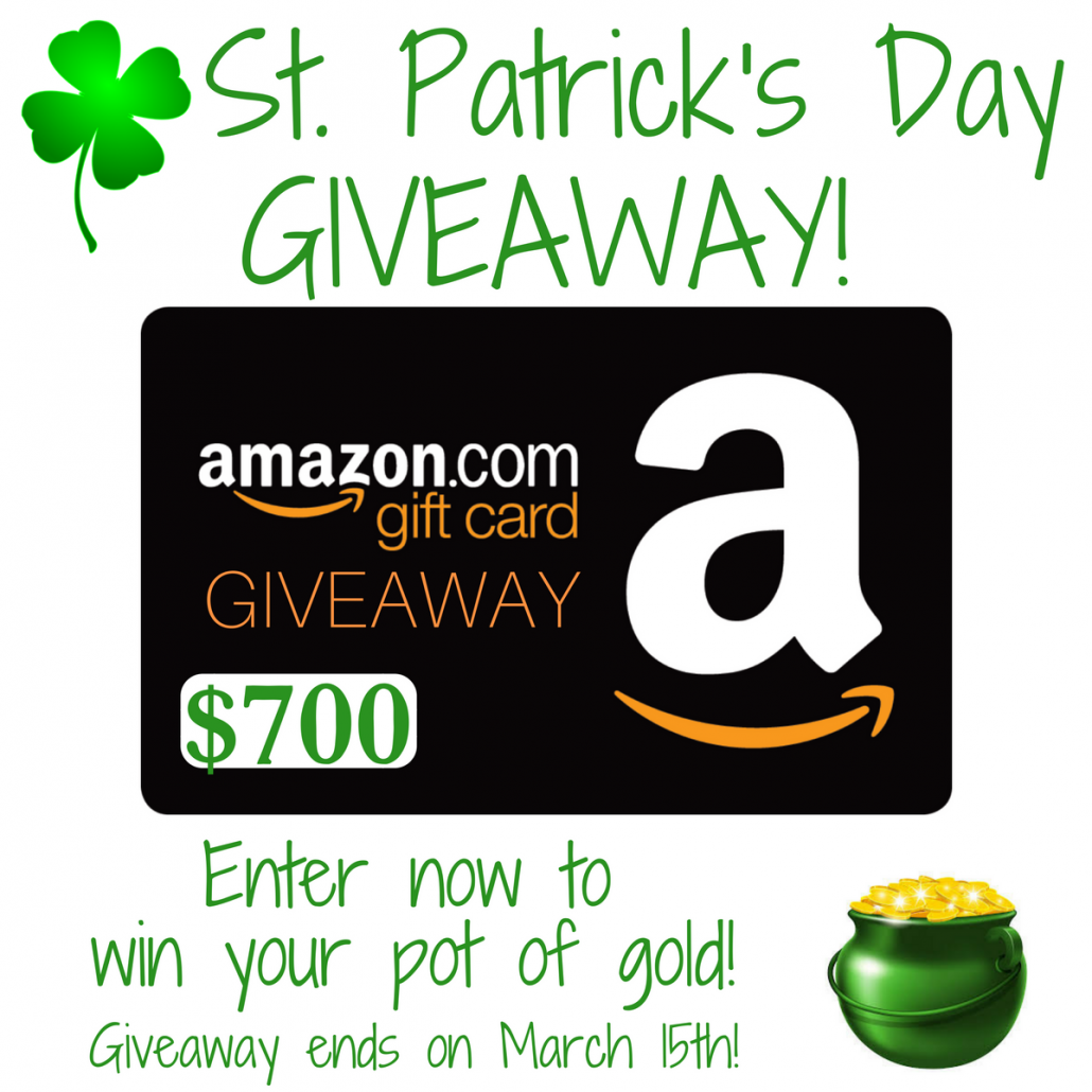 Win $700 Amazon Gift Card with this St Patrick's Day Giveaway!
